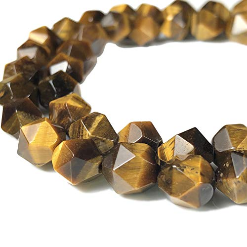 Tiger Eye Star - [ABCgems] African Tiger's Eye 8mm Precision-Star-Cut Beads for Beading & Jewlery Making