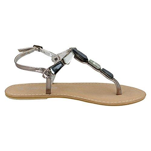 Damen Spot auf Leder Collection Zehensteg Sandalen f0897, Silber - Zinnfarben - Größe: One Size