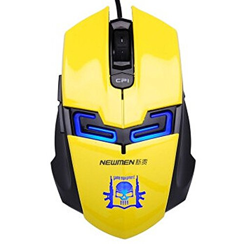 Newmen Leopard Shark Hunting Game 6000 Luminous Blue Wired USB Mouse Breathing Light(Yellow)