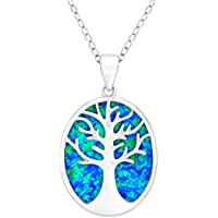 Tree of Life Blue Opal Cutout Pendant Necklace