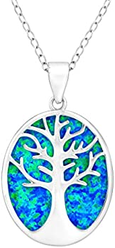 Tree of Life Blue Opal Cutout Necklace