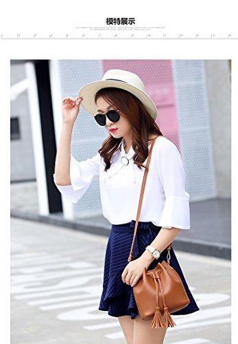 Orfila Mini Bucket Bag Leather Shoulder Crossbody Bag Tassel Drawstring  Purse for Women 1ab707ed13