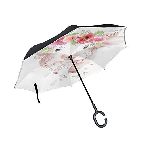 Reverse Umbrella Watercolour Piglet With Flower Windproof for Car