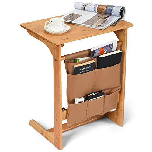 COSTWAY 100% Bamboo Side Table, L-Shaped TV Tray Side Table, Snack End Table Laptop Desk with Storage Bag, U-Shaped Bedroom Reading Writing Desk for Limited Space for Home, Office, Natural (Nature Table)