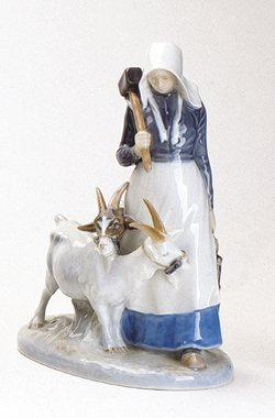 Royal Copenhagen Figurine, Girl with Goats (Copenhagen Animal Royal)