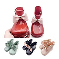 FidgetGear Cute Toddler Baby Kids Girls Jelly Candy Color Bow Shoes Mid Calf Rain Boots Hot