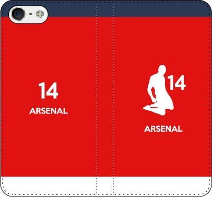 iPhone/Xperia/Galaxy/他機種選択可:携帯ケース/手帳型/サッカーシルエット手帳(ホーム/アーセナル_14番_