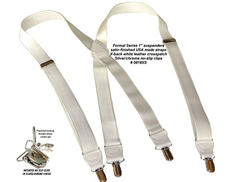 Hold-Ups X-back 1'' W. Suspenders Satin Finish White, Pat. No-slip Silver Clips by Hold-Up Suspender Co. (Image #6)