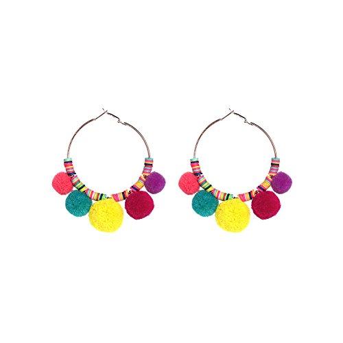 Pom Pom Tassel Earrings Colorful Rainbow Round Hoop Ball Dangle Ear Drop Large Fashion Boho Bohemian Vintage Statement Eardrop for Women Girls (Rainbow)