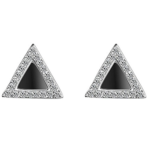S925 Silver Plated triangle AAA Cubic Zirconia Black Onyx Agate Stud Post Earrings,9MM