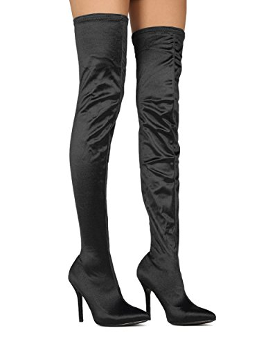 Alrisco Women Thigh High Stocking Boot - Over The Knee Stiletto Boot - Costume Cosplay Dress Up Dressy Party Boot - SHE61 by Mackin J Collection Black Satin WuD4VWTy