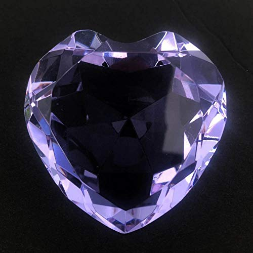 personalized custom engraved diamond heart paperweight (purple)