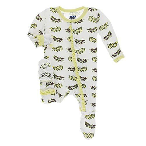 Kickee Pants Little Girls Print Classic Ruffle Footie with Snaps - Natural Olive Branch, 0-3 Months