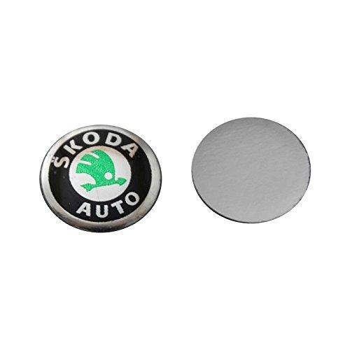 Bross BDP538 2 Pieces Car Key Logo Auto Emblems Dia:1.4cm Car Styling Sticker for Skoda Octavia A7 A5 Rapid Yeti Fabia Superb