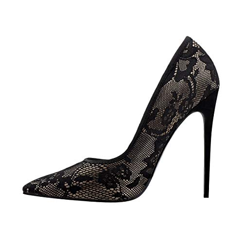 e26d2fd921a Onlymaker Womens Pointed Toe Stiletto High Heel Lace Pumps Sexy Slip On  Shoes Black 11 M US