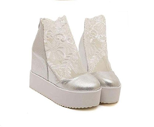 ocasionales Cremallera Hide redonda Boots Mesh Martin Transpirable 40 Cool Eu punta Shoes Boots Onfly Pump 11cm Wedge Grueso Muffin Tamaño Women 34 de Shoes Heel Plata Dress encaje Zapatos Heel Bottom 7g4a0q4Ow