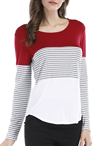 Colour Block (BBX Lephsnt Women Long Sleeve Color Block Casual T Shirt Stripe Shirt Tunic Tops,Medium,Red)