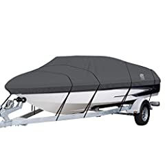 The Classic Accessories StormProTM is the Heavy-duty boat cover designed for both long-term storage and highway travel. The high strength StormProTM Marine Canvas has been engineered for extra durability and all-weather protection that is ext...