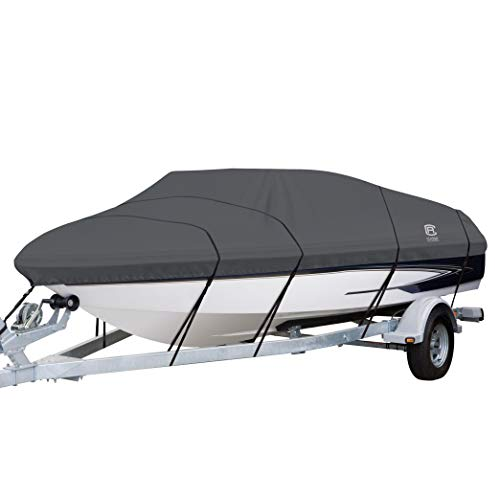 - Classic Accessories StormPro Heavy Duty Boat Cover With Support Pole For V-Hull Runabouts, For 22' - 24' L Up to 116