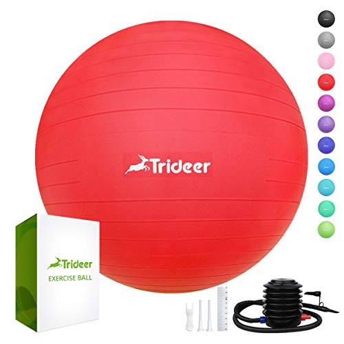 Ergonomic Office Ball Chairs - Trideer Exercise Ball (45-85cm) Extra Thick Yoga Ball Chair, Anti-Burst Heavy Duty Stability Ball Supports 2200lbs, Birthing Ball with Quick Pump (Office & Home & Gym)