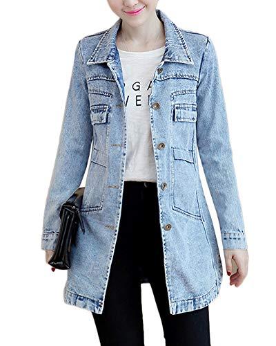 Outerwear Cappotto Giacca Jacket Manica Giacche Azzurro Denim Oversized Jeans Chiaro Cappotti Lunga Gladiolusa Donna q0wxnnP