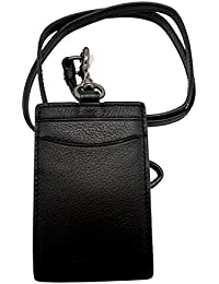 Sport Calf Leather Lanyard ID Badge Holder in Black 58114