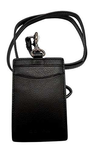 COACH Sport Calf Leather Lanyard ID Badge Holder in Black 58114