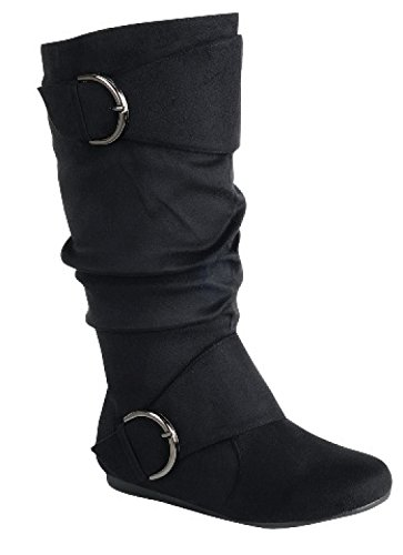 Women's Flat Heel Zipper Buckle Slouchy Mid-Calf Knee High Boot Shoes Size (Kln-70-Black-10) by Unknown