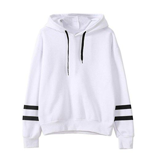 fbR8wawOKPHoYL9 Women's Long Sleeve Hoodie Sweatshirt Colorblock Tie Dye Print Pullover Shirt Blouse (White, L) by fbR8wawOKPHoYL9