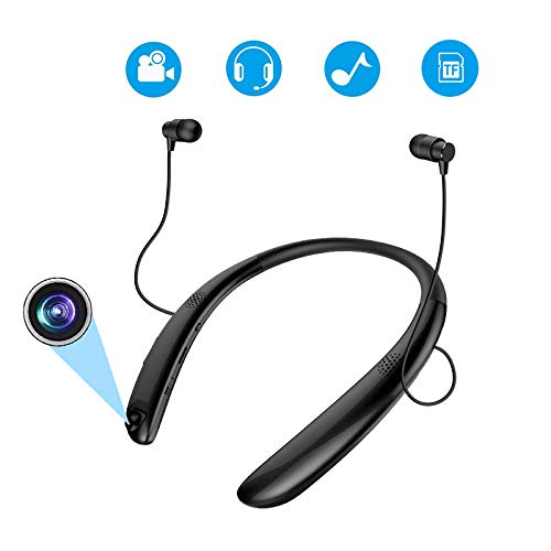 SYL Bluetooth Headsets with Video Recording Camera, Neckband Sports Recorder Wireless Earphones with TF Card Slot, Dash Cam Bluetooth Earbuds for Bicycling Riding Running Hiking Racing