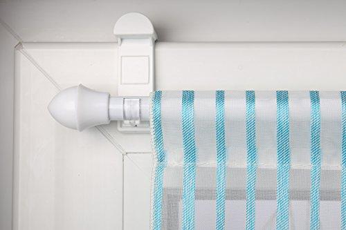 Gardinenstange Weiß ausziehbar 75-125cm + Klemmträger zur Aufhängung von Scheibengardinen ohne Bohren