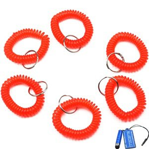 Bluecell Pack of 6 Plastic Wrist Coil Wrist band Key Ring chain for Outdoor Sport (Red)