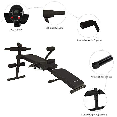 URSTAR Adjustable Sit Up AB Bench, Foldable Decline Bench Reverse Crunch Handle Home Gym Ab Exercise, Black