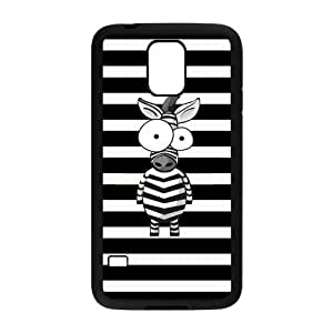 Danny Store Black and white Stripes Cute Cartoon Zebra Protective TPU Rubber Back Fits Cover Case for Samsung Galaxy S5