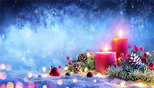 Series 12' Red Stitch - GoHeBe 20x12ft Christmas Backdrop Vinyl Snowfield Burning Red Candles Pine Twigs Cones Xmas Decorations Bokeh Forest Haloes Nightscape Background Xmas Party Banner Child Baby Shoot Greeting Card