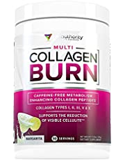 Multi Collagen Burn: Multi-Type Hydrolyzed Collagen Protein Peptides with Hyaluronic Acid, Vitamin C, SOD B Dimpless, Types I, II, III, V and X Collagen, Caffeine-Free