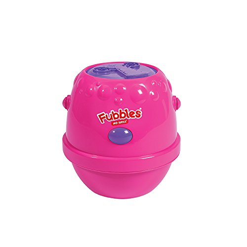 Little Kids Fubbles No-Spill Motorized Bubble Machine in Pink, Includes 4oz Bubble Solution (No Spill Bubble Machine)