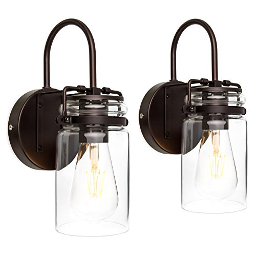 Best Choice Products Industrial Metal Hardwire Wall Light Lamp Sconces with Clear Glass Jar Shade, Bronze, Set of 2 (Sconce Bathroom Wall)