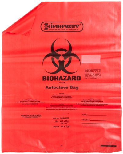 Bel-Art F13164-1923 Polypropylene 6-9 Gallon Red Biohazard Disposal Bags with Warning Label/Sterilization Indicator, 19W x 23 in. H, 1.5mil Thick (Pack of 200) by SP Scienceware