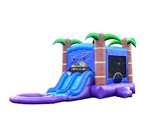 - HeroKiddo Tropical Breeze Inflatable Bouncer with Dual Slides, 100% Commercial PVC Vinyl, 13 x 26 ft. (Blower Included) - Pool Included