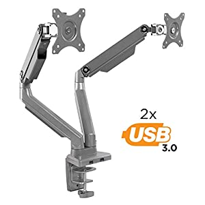 Mount-It! Dual Monitor Mount Arm, Height Adjustable Full Motion Arms With Mechanical Spring, 2 x USB 3.0 Ports, VESA Compatible With 24, 27, 29, 30, 32 In Screens