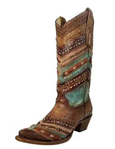Corral Women's 13-Inch Turquoise/Brown Embroidery & Studs Snip Toe Leather Boots - 9 B by CORRAL