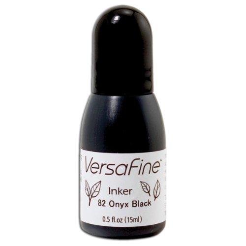 Tsukineko 1/2 Fluid Ounce VersaFine Pigment Inker, Onyx Black
