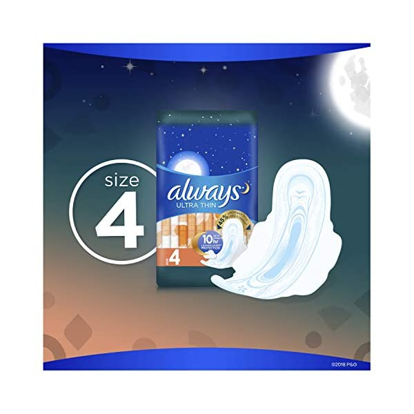 Always Ultra Thin Feminine Pads with Wings for Women, Size 4, Overnight Absorbency, Scented, 24 Count - Pack of 6 (144…