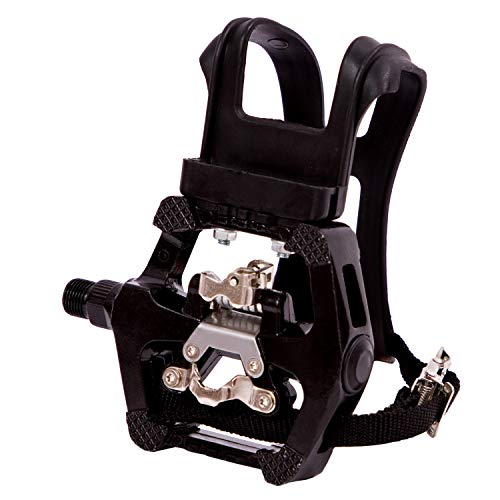 "NAMUCUO SPD Pedals - Hybrid Pedal with Toe Clip and Straps, Suitable for Spin Bike, Indoor Exercise Bikes and All Indoor Bike with 9/16"" axles. 6 Month Warranty"