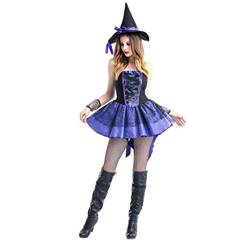 Slocyclub Cute Purple Gallus Dress Halloween Witch (1950s Gangster Costumes)