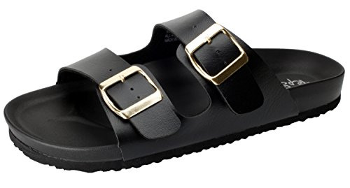 Pepstep Cork Sandals for Women Beach Footbed Thong Sandals Buckle Sandal for Women (7.5, Black) by Pepstep (Image #1)