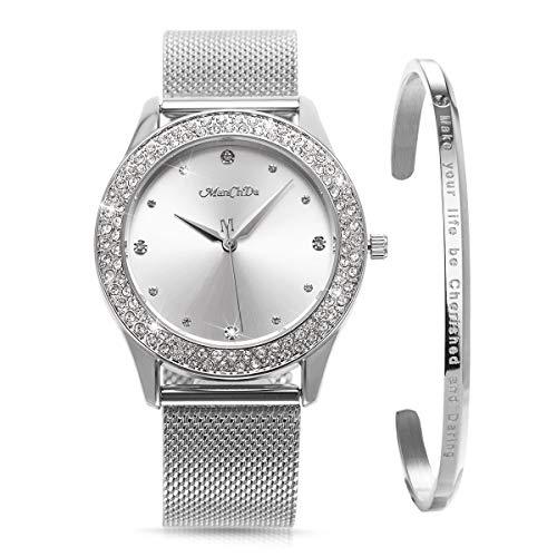 ManChDa Womens Wrist Watch Crystal Mesh Stainless Steel Belt Ladies Quartz Diamond Classic Fashion Romatic + Jewelry Cuff Bracelet Set ()