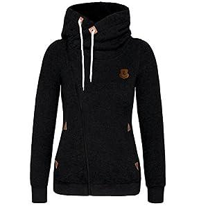 DAYSOFT Women Full Zip Up Fleece Hoodie, Fashion Sweater/Sweatshirt Jacket (L, Black)