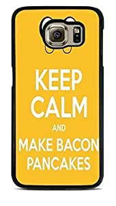 Keep Calm and Make Bacon Pancakes Black Hardshell Case for Samsung Galaxy S6 EDGE by icecream design